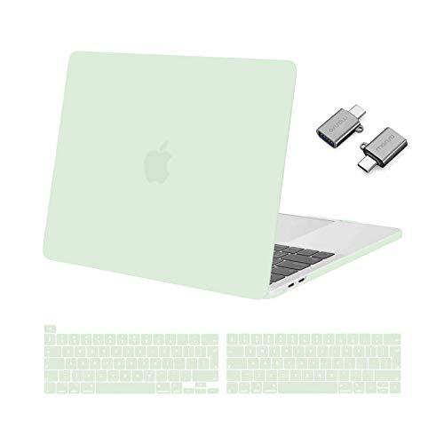 MOSISO Funda Dura Compatible con 2020-2016 MacBook Pro 13 Pulgadas A2338 M1 A2251 A2289 A2159 A1989 A1706 A1708, Plástico Rígido Carcasa&Cubierta de Teclado&Adaptador Tipo C,Verde Honeydew