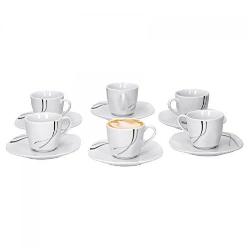 Van Well 6X 2-TLG. Espresso-Set Silver Night, Espressotassen 110 ml + Untertassen, Hotelporzellan, Kaffeegeschirr, abstraktes Dekor, Gastro-Geschirr