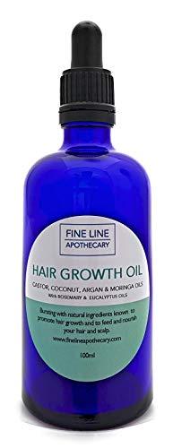 HUILE DE CROISSANCE DES CHEVEUX - RICIN, ARGAN, MORINGA & COCO avec ROMARIN & EUCALYPTUS - 100 ml par Fine Line Apothecary. 100% Pur, Naturel. Favorise la Croissance des Cheveux, Répare, Nourrit.