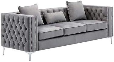 BOWERY HILL Transitional Upholstery Tufted Fixed price for sale Award-winning store Ro Living Gray Velvet