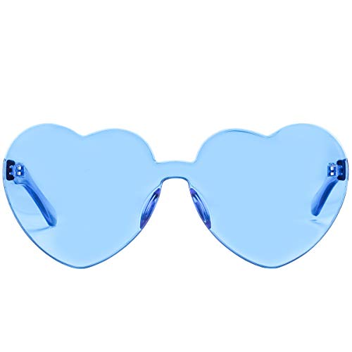 One Piece Heart Shaped Rimless Sunglasses Transparent Candy Color Eyewear (Ice Blue)