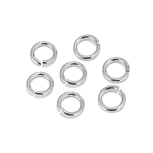 SS01 200 anillos abiertos de acero inoxidable de 3,5 mm, 4 mm, 5 mm, 6 mm, 7 mm, 8 mm, 9 mm, conectores de joyería, accesorios para anillos YC0407 (tamaño: 4 mm x 0,6 mm)