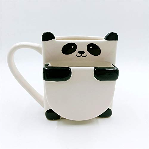 Subink Becher, Kaffee zum Mitnehmen Becher, süße Panda Becher Cartoon Wasser Tasse Geschenk kleine frische Doppelschicht Keks Kaffee Keramik Tasse