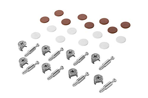 Gedotec Möbelverbinder Exzenter Schrank-Verbinder MINIFIX 15 mm | Abdeckkappen braun & weiß | Verbinder für Bohrloch Ø 5 mm | Komplett-Set - MADE IN GERMANY | 1 Set - Schraubverbinder für Holz-Möbel