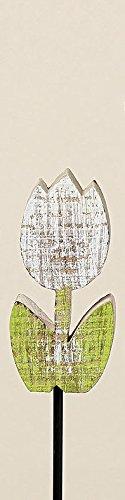 Jardin Fleurs Tige ou Tulipe Jardin en bois Vert Blanc H 51 cm ou H 31 cm