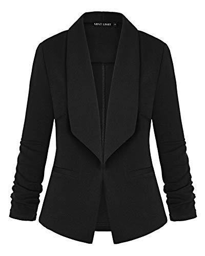 MINTLIMIT Women's Lightweight Blazer Ruched Sleeve Open-Front Cardigan Work Office Jacket(Black,Size 2XL)