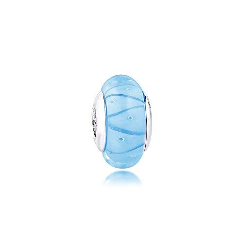 Pandora 925 Jewelry Bracelet Natural Sky Blue Murano Glass Charms Sterling Silver Charm Beads For Women Diy Gift