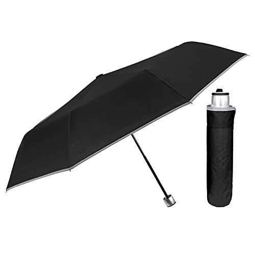 Paraguas Hombre Mujer Plegable Mini Compacto Reflectante - Paraguas Pequeño de Bolso Viaje con Ribete de Alta Visibilidad Antiviento Ligero Resistente - Sombrilla de Lluvia Diámetro 98 cm (Negro)