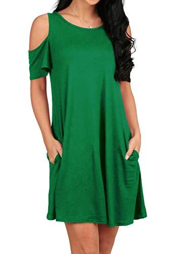OFEEFAN Women's Casual Loose Plain Tunic T-Shirt Dress with Pockets Green XL