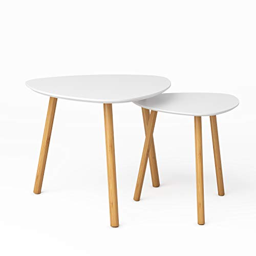 BAMEOS Bamboo Nesting Triangle End Table,Set of 2 Coffee Table Modern Minimalist Side Table for Living Room, Balcony in White