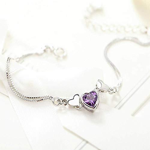 Moter 925 Sterling Silber Armband, kubischer Kristall für High-End-Schmuck, Geschenke für Mädchen,Lila