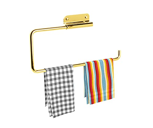 ARSUK Paper Towel Kitchen Roll Tissue Holder Large Dispenser Rack Wall Mounted fits in a Cupboard or Under Cabinet Metal (Brass)