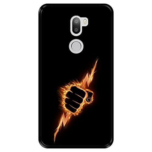 Hapdey Funda Negra para [ Xiaomi Mi5s Plus - Mi 5s Plus ] diseño [ Puño ardiente apretando un Rayo ] Carcasa Silicona Flexible TPU