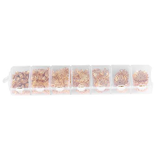 Tapa espaciadora de flores, tapa espaciadora de 7 tamaños Espaciador en forma de flor para collar para hacer joyas Amante para decoración para aretes(oro)