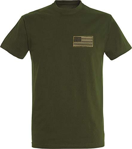 T-Shirt: USA Flagge Patch Stars and Stripes - US-Army Shirt Herren Damen - Mann Männer Frau-en - Biker - Rock-er - Amerika America - United States - Camouflage Camo Tarn - Geschenk (Grün L)
