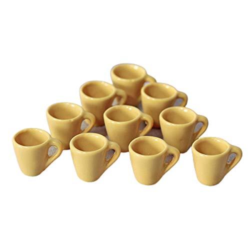 LOVEYue Mini Taza De Casa De Muñecas De 10 Piezas, Accesorios De Cocina para Juegos De Comida, Accesorios para Manualidades DIY, Juguete para Niños, Juego Casa De Muñecas Amarillo