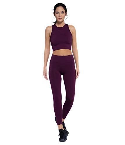 Heart And Soul Leggings Donna-Shiny Ribbed Sport, Plum, Regular Womens