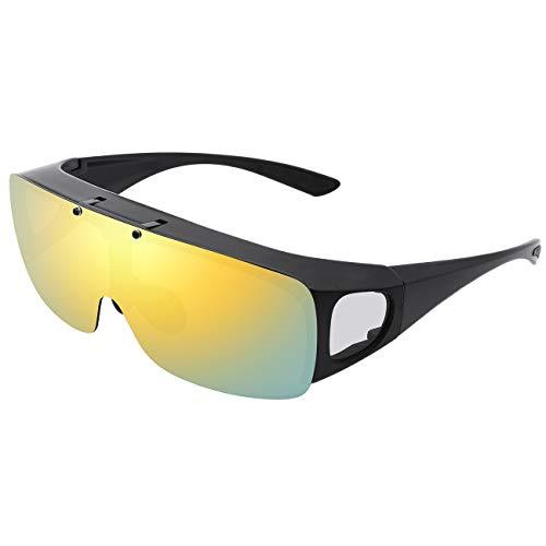 TINHAO オーバーサングラス 偏光オーバーグラス 跳ね上げ式レンズ メガネの上からかけられる 偏光サングラス UV400 紫外線カット 運転/釣り/ゴルフ/バイク スポーツサングラス