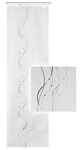 Haus und Deko Flächenvorhang halbtransparent Weiß ca. 60x245 cm Schiebegardine mit dezenter Stickerei in Schwarz Grau