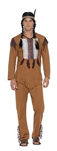 Smiffys 45509XL - Herren Indianer Kämpfer Kostüm, Oberteil, Hose und Haarband, Größe: XL, braun
