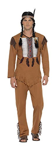 Smiffy's Native American Indian Brave Adult Costume, Brown, Small