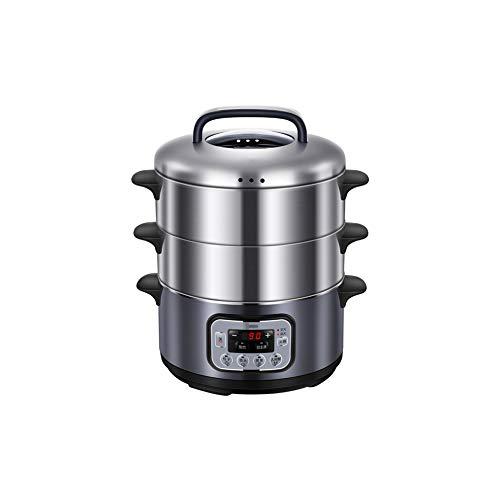 NAFE Elektrischer Dampfgarer aus Edelstahl, multifunktionaler 2-Lagen-Dampfgarer/Hot Pot, Dampfgarer mit großer Kapazität, Dampfsterilisation, elektrischer Dampfgarer mit 1500 W schneller Erwärmung