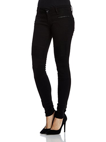 Seven7 Damen Biker Skinny Jeans, Schwarz (Rinse Blk 003), 40 (Herstellergröße: 29/28)