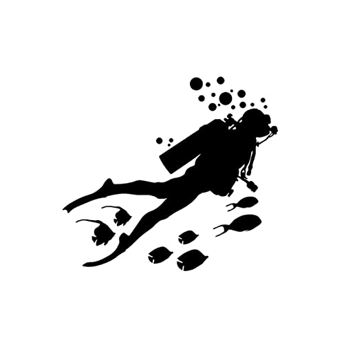 TYUTYU Etiqueta engomada del Coche One Buceo Hombre y Pescado Vinilo Coche Estilismo Accesorios Accesorios Decoración (Color Name : Black)