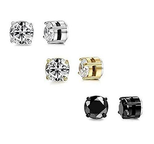 3 pares de pendientes de clip de cristal para hombre y mujer, pendientes magnéticos de circón sin perforaciones, conjunto de pendientes de clip magnético sin perforaciones, pendientes desmontables par