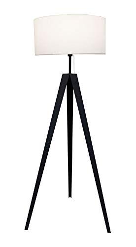 Lampadaire Kiom Kuno noir + trépied métal blanc 153cm 10841