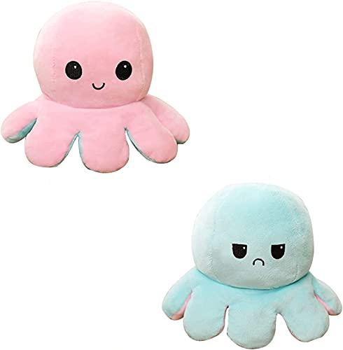 CNSSKJ Reversible Octopus Soft Toys, doppelseitiges Flip Octopus Plüschtier, niedliche Mini Octopus Kuscheltiere Puppe Kreative Spielzeuggeschenke für Kinder / Mädchen / Jungen / Liebhaber