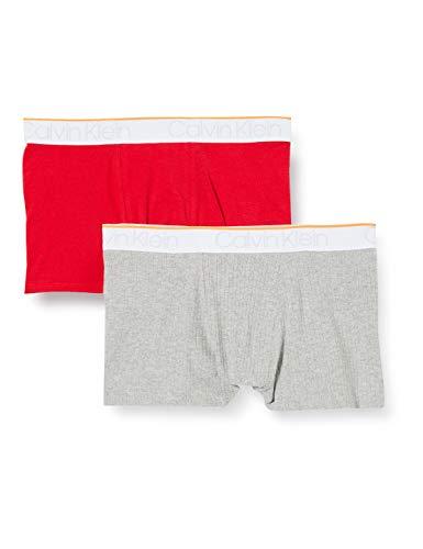Calvin Klein Jungen 2er Pack Trunks Boxershorts, Grau (1GreyHeather/1Lollipop 0IP), 14-15 Jahre (Herstellergröße: 14-16)