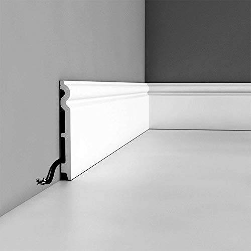 Orac Decor | High Impact Polystyrene Baseboard Moulding | Primed White | 5-3/8in H x 78in Long