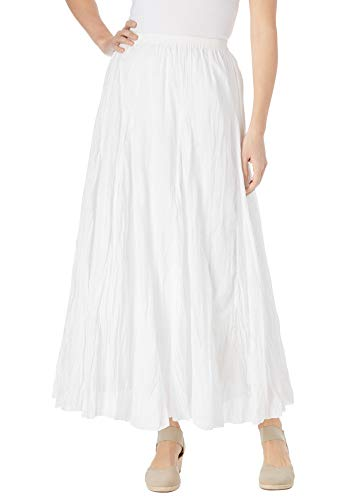 Woman Within Women's Plus Size Pull-On Elastic Waist Printed Skirt - 4X, White