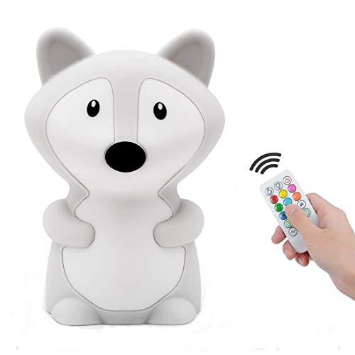 luz nocturna infantil, Tianhaixing LED Silicona blanda Zorro luz nocturna con 9 colores cambiando/USB recargable/control remoto y táctil regulable, ideal Navidad y regalos de cumpleaños para n