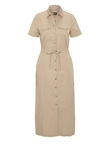 s.Oliver BLACK LABEL Damen Hemdblusenkleid mit Bindeband beige 42