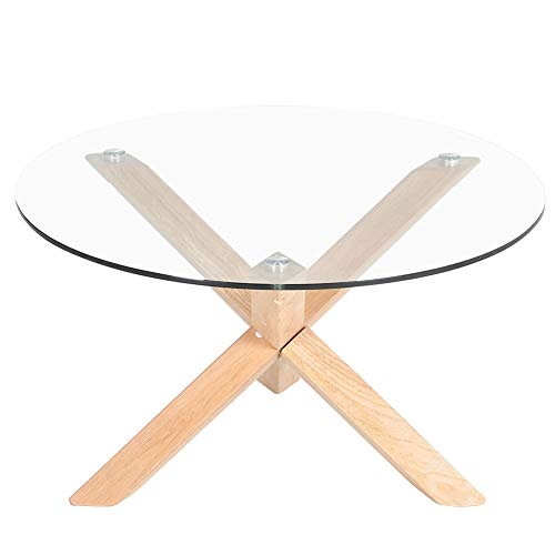 INMOZATA Coffee Table Tempered Glass Round Wood Legs Sofa Table Side Table End Table for Living Room Bedroom