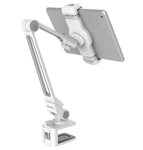 ZenCT Long Arm Aluminum Holder for iPad, 360° Swivel Tablet Stand Mount with bracket holder for iPad pro 11, iPad pro 9.7, iPad air, iPad 4 3 2, iPad Mini, Smart phones