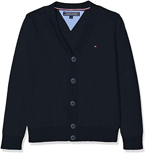 Tommy Hilfiger Boys Basic V-Neck Cardigan suéter, Azul (Sky Captain 420), Talla única (Talla del Fabricante: 80) para Niños