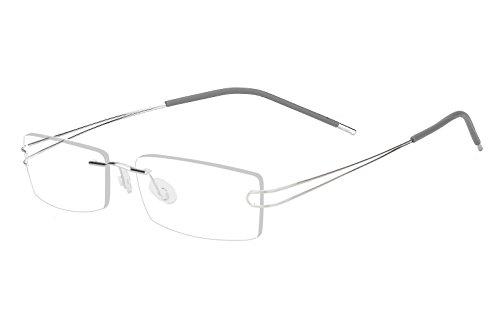 Agstum Pure Titanium Rimless Frame Prescription Hingeless Eyeglasses 52mm (Silver, 52mm)