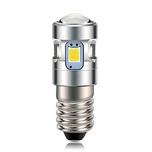 Ruiandsion E10 LED de actualización de la antorcha Bombillas 6 V Blanco 2835 4SMD Chips con proyector para 4 celdas C & D Bicicletas Mini faro linternas antorcha luces de trabajo