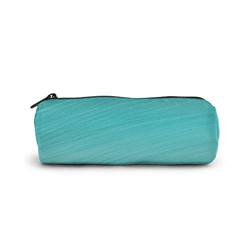 Teal Aqua Pencil Case Cylinder Shape Pen Stationery Pouch Bag Zippers Pen Bag Office Stationery Bag Cosmetic Makeup Bag Toiletry Bag Cylinder Women Cosmetic Bag