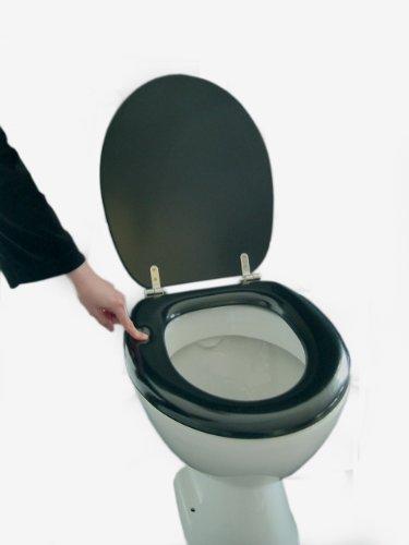 Polsi Soft WC Sitz gepolstert Farbe schwarz mit Edelstahlscharnieren