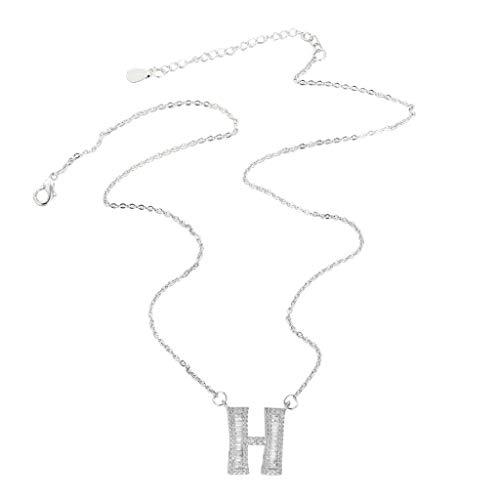 Halskette für Männer und Frauen Mode Sparkling Microinlaid Zircon 26 Letter (H)