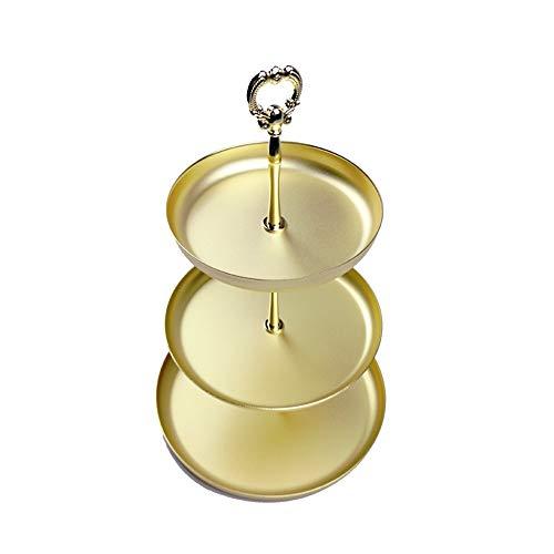 HXiaDyG Estante de Exhibición de la Joyería Tres Capas de joyería joyería Bandeja de Almacenamiento Estante de la Mesa de Metal Dresser cosmética Bandeja para Joyería (Color : Gold, Size : One Size)