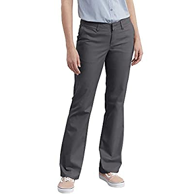 Dickies Women's Flat Front Stretch Twill Pant Slim Fit Bootcut, Charcoal, 12