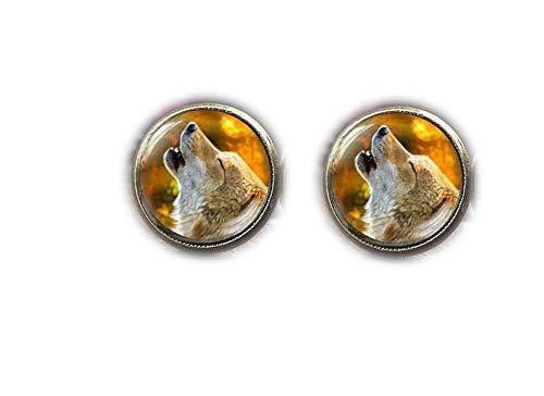 Pendientes de Lobo, diseño de Lobo Malvado con Lobo, Pendientes de Lobo, joyería de Lobo, Pendientes de otoño, Animales de Elfo, Lobo, joyería de Animales