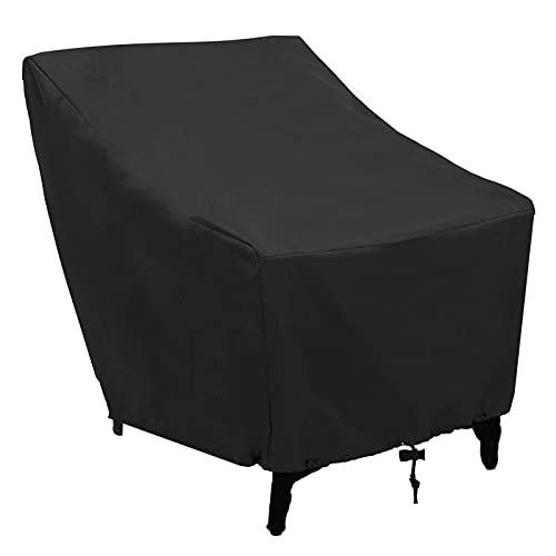 Funda para Muebles Muebles de terraza cubierta jardín Silla apilable silla grande de cubierta de asiento impermeable a prueba de viento Lluvia Nieve polvo a prueba de viento anti-UV (Negro) mesa y sil