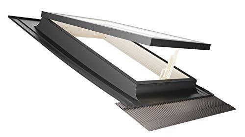 Emica - Claraboya con apertura Vasistas de Aluminio | Gama Best con Vidrio Aislante 3-9-3 | con Interior de Madera de Abeto | Asa con 4 posiciones de Apertura | Ventana de techo (55x72 Base x Altura)