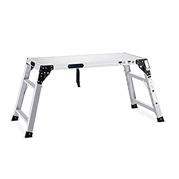Adjustable Work Platform with 330 lb Duty Rating Portable Folding Aluminum Step Ladder Ideal for Washing Vehicles Cleaning Windows Decorating etc.